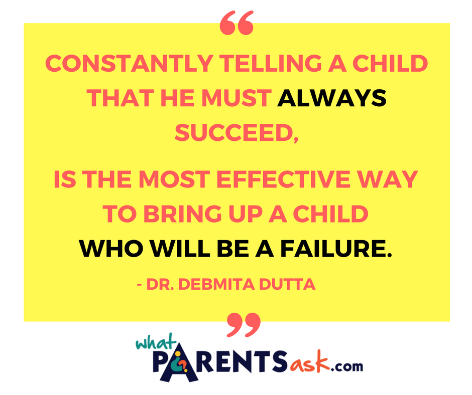 Never tell a child not failure is not acceptable