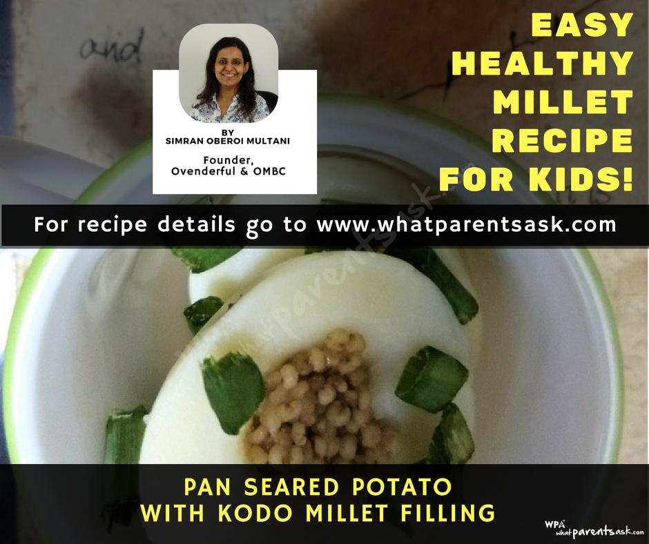 pan seared potato with kodo millet