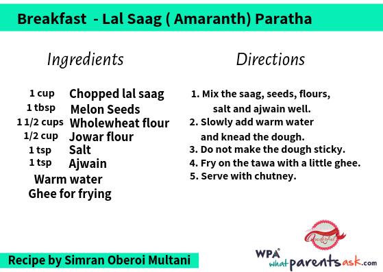lal saag amaranth paratha cookhealthymealseveryday